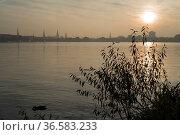 Blick ueber die Außenalster von Uhlenhorst auf die Skyline von Hamburg... Стоковое фото, фотограф Zoonar.com/C3455 Robert B. Fishman / age Fotostock / Фотобанк Лори