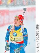 Gabriela Soukalova freut sich nach dem Zieleinlauf über den Sieg ... Стоковое фото, фотограф Zoonar.com/Joachim Hahne / age Fotostock / Фотобанк Лори