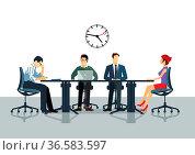 Besprechung und Kommunikation im Büro. Стоковое фото, фотограф Zoonar.com/scusi / age Fotostock / Фотобанк Лори