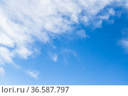 Blue sky with white clouds on a daytime. Стоковое фото, фотограф EugeneSergeev / Фотобанк Лори
