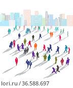 Große Gruppe von Menschen in der Stadt. Стоковое фото, фотограф Zoonar.com/scusi / age Fotostock / Фотобанк Лори