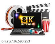 8K laptop, popcorn and film strip on a white background, 3d render. Стоковое фото, фотограф Zoonar.com/Roman Ivashchenko / easy Fotostock / Фотобанк Лори