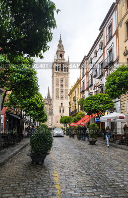 The Giralda is the bell tower of Seville Cathedral in Seville, Spain