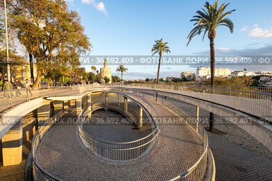 View of the embankment of Guadalkivir river in Seville