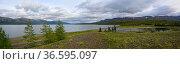Плато Путорана, панорама горного озера. Стоковое фото, фотограф Сергей Дрозд / Фотобанк Лори