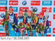 Das Quartett aus der Ukraine gewann das Staffelrennen der Frauen ... Стоковое фото, фотограф Zoonar.com/Joachim Hahne / age Fotostock / Фотобанк Лори