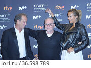 Julia Ducournau, Vincent Lindon, Thierry Fremaux attended 'Titane... Редакционное фото, фотограф ©MANUEL CEDRON / age Fotostock / Фотобанк Лори