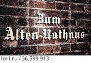 Alte Schrift auf Steinmauer. Стоковое фото, фотограф Zoonar.com/Karl Heinz Spremberg / easy Fotostock / Фотобанк Лори