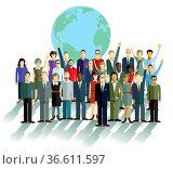 Gruppe von Personen, vor einer Weltkugel. Стоковое фото, фотограф Zoonar.com/scusi / age Fotostock / Фотобанк Лори