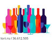 Bunte Cocktailgläser und Flaschen. Стоковое фото, фотограф Zoonar.com/scusi / age Fotostock / Фотобанк Лори