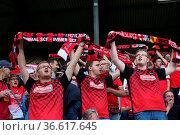 Freiburger Fans sind aus dem Häuschen 2. Bundesliga: 1. Sptg.: SC... Стоковое фото, фотограф Zoonar.com/Joachim Hahne / age Fotostock / Фотобанк Лори
