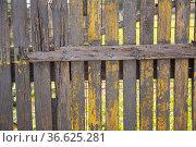 Rustic old wooden fence with rotten planks. Стоковое фото, фотограф Яков Филимонов / Фотобанк Лори