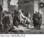 Christian martyr in the Roman circus, painting by Albert Baur (1835... Редакционное фото, фотограф Jerónimo Alba / age Fotostock / Фотобанк Лори