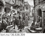 Who bad goes bad ends, painting by Marc Louis Benjamin Vautier (1829... Редакционное фото, фотограф Jerónimo Alba / age Fotostock / Фотобанк Лори