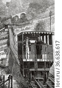 Territet Funicular Glion railway, Montreux, Canton vaud. Switzerland... Редакционное фото, фотограф Jerónimo Alba / age Fotostock / Фотобанк Лори
