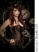 Junge Frau gekleidet im Steam Punkstil vor Technik Hintergrund. Стоковое фото, фотограф Zoonar.com/Hans Eder / easy Fotostock / Фотобанк Лори