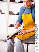 Young man repairing shoes in workshop. Стоковое фото, фотограф Zoonar.com/Elnur Amikishiyev / easy Fotostock / Фотобанк Лори