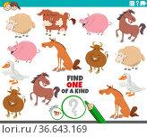Cartoon illustration of find one of a kind picture educational game... Стоковое фото, фотограф Zoonar.com/Igor Zakowski / easy Fotostock / Фотобанк Лори