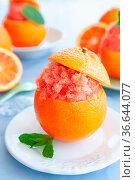 Frisches Sorbet aus Orangen, serviert in Orange mit frischer Minze. Стоковое фото, фотограф Zoonar.com/Barbara Neveu / easy Fotostock / Фотобанк Лори