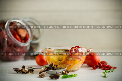 vegetable soup with dried mushrooms, dried tomatoes