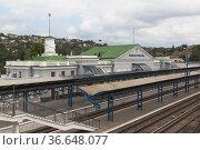 Железнодорожная станция Севастополь, Крым (2020 год). Редакционное фото, фотограф Николай Мухорин / Фотобанк Лори