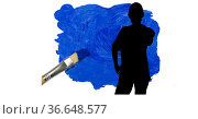 Silhouette of female handball player against blue paint stain and paint brush on white background. Стоковое фото, агентство Wavebreak Media / Фотобанк Лори