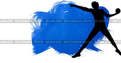 Silhouette of female handball player against blue paint brush strokes on white background