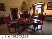 Inside rooms and precious wooden and glas windows in Castel Presule... Редакционное фото, фотограф Angelo Calvino / age Fotostock / Фотобанк Лори