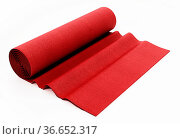 Rolled up red carpet isolated on white background. 3D illustration. Стоковое фото, фотограф Zoonar.com/Cigdem Simsek / easy Fotostock / Фотобанк Лори