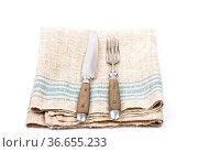 Antikes Essbesteck auf Leinentuch - Ancient cutlery on linen. Стоковое фото, фотограф Zoonar.com/lantapix / easy Fotostock / Фотобанк Лори