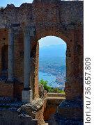 Italien, Italia, Sizilien, Taormina, am griechisch - römischen Theater... Стоковое фото, фотограф Zoonar.com/Bildagentur Geduldig / easy Fotostock / Фотобанк Лори