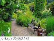 Gartenweg mit Ziergarten, Gartenbank, Стоковое фото, фотограф Zoonar.com/Bildagentur Geduldig / easy Fotostock / Фотобанк Лори