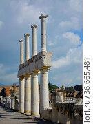 Italien, Italia, Pompeji, Säulenreste, Стоковое фото, фотограф Zoonar.com/Bildagentur Geduldig / easy Fotostock / Фотобанк Лори
