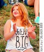 Weibliche polnischer Fan beim Herren Einzelwettbewerb - FIS Sommer... Стоковое фото, фотограф Zoonar.com/Joachim Hahne / age Fotostock / Фотобанк Лори
