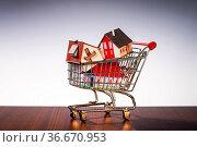 Häuser sind in einem Einkaufswagen gestapelt. Стоковое фото, фотограф Zoonar.com/ironjohn / easy Fotostock / Фотобанк Лори