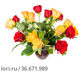 Bouquet of fresh red and yellow rose flowers in ceramic vase isolated... Стоковое фото, фотограф Zoonar.com/Valery Voennyy / easy Fotostock / Фотобанк Лори