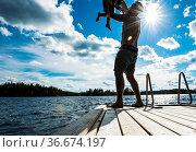 See Finnland & Holz-Steg. Стоковое фото, фотограф Zoonar.com/pxel66 / easy Fotostock / Фотобанк Лори