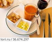 Traditional Spanish dish Gazpacho. Стоковое фото, фотограф Яков Филимонов / Фотобанк Лори