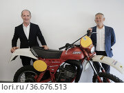 Luca Zaia President Veneto Region, Mariano Roman CEO Fantic Motor... Редакционное фото, фотограф Mirco Toniolo / AGF/Mirco Toniolo / AGF / age Fotostock / Фотобанк Лори