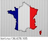 Karte und Fahne von Frankreich auf Wellblech - Map and flag of France... Стоковое фото, фотограф Zoonar.com/lantapix, / easy Fotostock / Фотобанк Лори