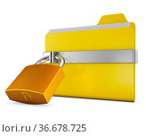 Yellow folder and a metal lock on a white background. Стоковое фото, фотограф Zoonar.com/Roman Ivashchenko / easy Fotostock / Фотобанк Лори
