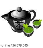 Chinese tea ceremony color icon. Teapot with cups. Asian green tea... Стоковое фото, фотограф Zoonar.com/Natalia Nesterenko / easy Fotostock / Фотобанк Лори