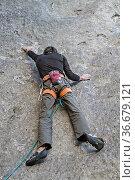 Extremkletterer in einer Route des 11. Schwierigkeitsgrades. Стоковое фото, фотограф Zoonar.com/Eder Christa / easy Fotostock / Фотобанк Лори