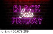 Neon sign Black Friday Sale on the brick wall. 3d illustration. Стоковое фото, фотограф Zoonar.com/Alexander Limbach / easy Fotostock / Фотобанк Лори