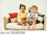 Boy and girl 1-2 years, Babies, Sailor accessories, Studio photography. Стоковое фото, фотограф Javier Larrea / age Fotostock / Фотобанк Лори