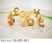 Financial symbols on statistics graph. 3D illustration. Стоковое фото, фотограф Zoonar.com/Cigdem Simsek / easy Fotostock / Фотобанк Лори
