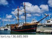Pirate ship anchored at the Rodney bay, Saint Lucia, Caribbean sea... Стоковое фото, фотограф Zoonar.com/Rudolf Ernst / easy Fotostock / Фотобанк Лори