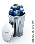 Globes standing inside metal trash bin. 3D illustration. Стоковое фото, фотограф Zoonar.com/Cigdem Simsek / easy Fotostock / Фотобанк Лори