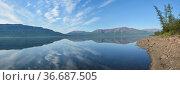 Панорама озера на плато Путорана. Стоковое фото, фотограф Сергей Дрозд / Фотобанк Лори