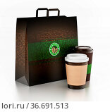 Take away coffee cup and paper bag isolated on white. 3D illustration. Стоковое фото, фотограф Zoonar.com/Cigdem Simsek / easy Fotostock / Фотобанк Лори